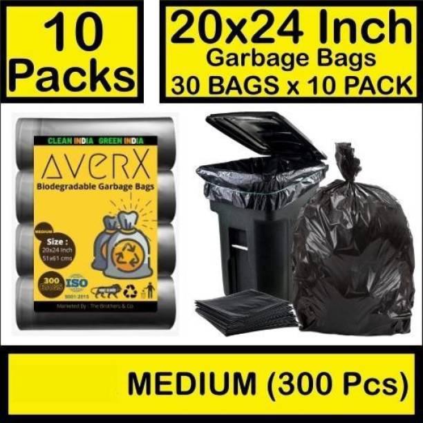 averX Biodegradable Black Garbage Bag - 20x24 inches (Pack of 10, 300 Pieces, Medium) Medium 20 L Garbage Bag
