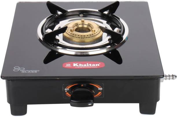 Khaitan 1 Burner BP-JIO Black Glass Manual Gas Stove