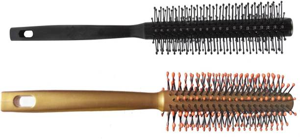 nik city store Nice Wooden Premium Quality Round Rolling Curling Wood Comb Medium wooded Hair Brush For Men And Women | pack of 2