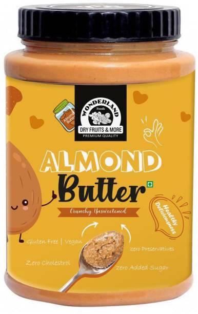 WONDERLAND Crunchy Almond Butter - (250 g) |Glutan Free |Vegan |100% Almonds | Zero Preservatives | Zero Cholestrol | 100% Natural Zero Added Sugar 250 g