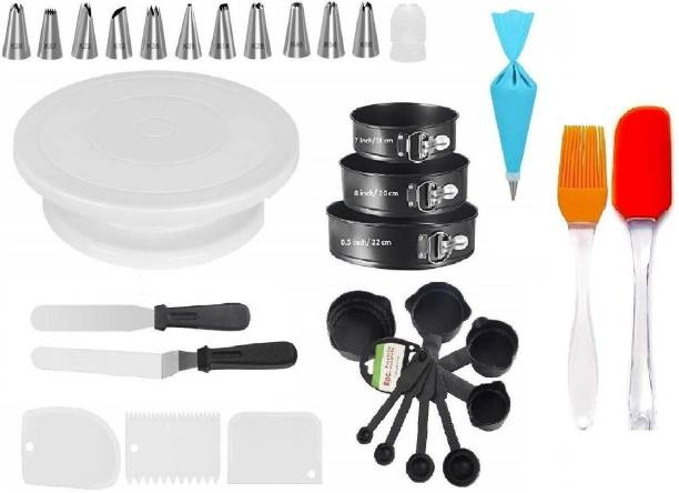 DEVICE OF XACTON bakeware3 bakeware Set Cake Turntable, Round Cake Mould Set of 3, Measuring Cup & Spoon Set of 8, 12 pc Cake Decorating Nozzle with Silicon Piping Bag, Set of 2 Icing Spatula, 3 pcs Scrapper & brush spatula Multicolor Kitchen Tool Set