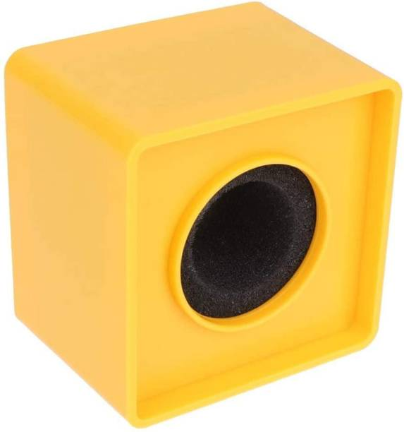 Efoxi Portable Yellow ABS Injection Molding Square Cube Shaped Interview Mic Microphone Logo Flag Station microphone Flag Mic Logo Station