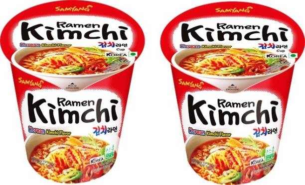 Samyang Kimchi Hot Chicken Flavour Raman Cup Noodles, 70mg*2 Pack (Pack of 2) (Imported) Cup Noodles Non-vegetarian