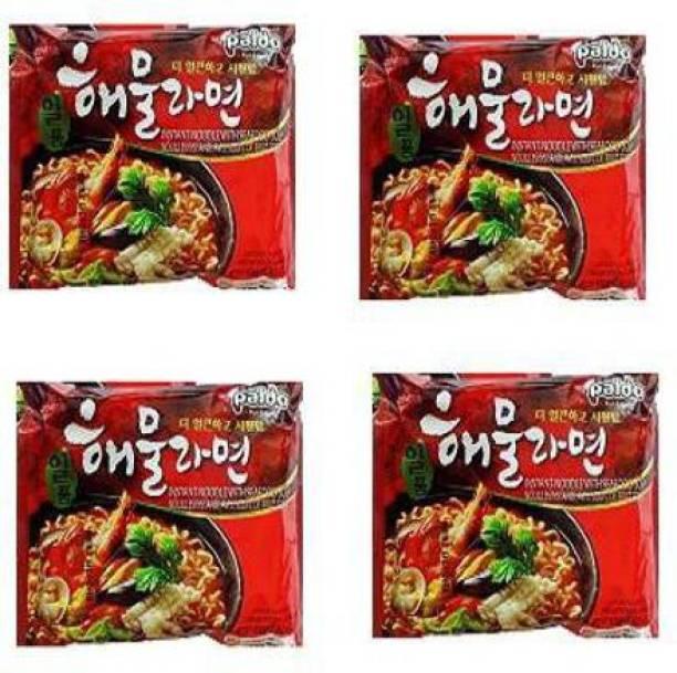 Paldo Seafood Soup Instant Noodles(Hot &Spicy Seafood Soup Base)120g(Pack Of 4 )(120gX4) Instant Noodles Non-vegetarian