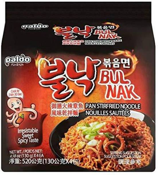 Paldo Bulnak (Octopus) Extra Spicy Instant Noodles 130Gm (Pack Of 4 ) (130gX4 ) Instant Noodles Non-vegetarian