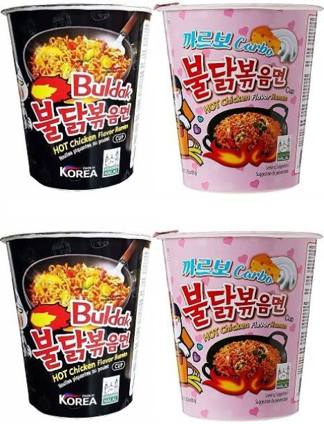 Samyang Stir Fried & Carbo Hot Chicken Flavour Raman Cup Noodles, 70mg*4 Pack (Pack of 4) (Imported) Cup Noodles Non-vegetarian
