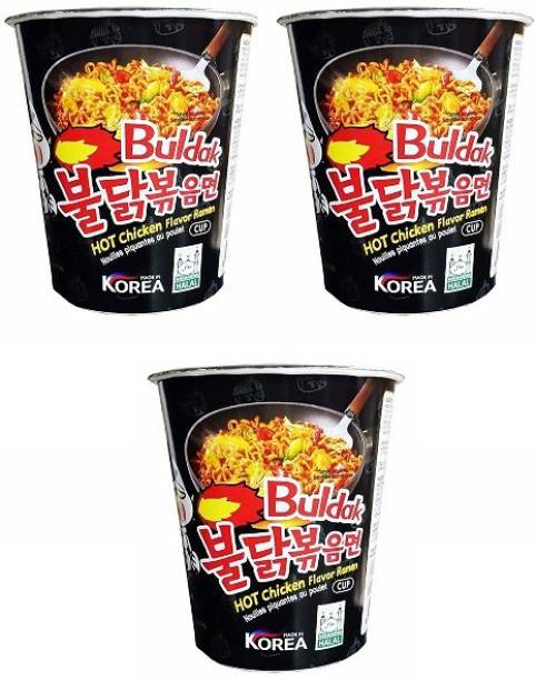 Samyang Stir Fried Hot Chicken Flavour Raman Cup Noodles, 70mg*3 Pack (Pack of 3) (Imported) Cup Noodles Non-vegetarian