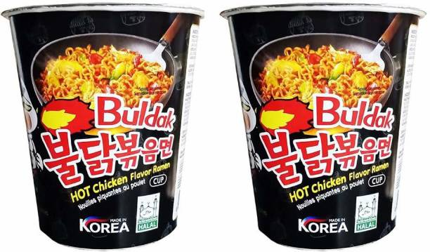 Samyang Stir Fried Hot Chicken Flavour Raman Cup Noodles, 70mg*2 Pack (Pack of 2) (Imported) Cup Noodles Non-vegetarian