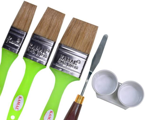 KAMAL Artist Quality Oil Painting Tool Kit with Wash Hog Hair Brushes(3 Pcs), Painting Knife and Double Dipper for Oil, Acrylic, Poster, Fabric, Encaustic Painting (25mm, 38mm, 50mm)