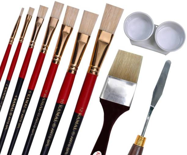 KAMAL Artist Quality Oil Painting Tool Kit with Flat and Wash Hog Hair Brushes, Painting Knife and Double Dipper for Oil, Acrylic, Poster, Fabric, Encaustic Painting