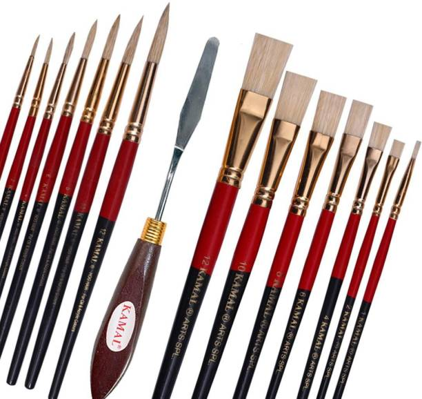 KAMAL Artist Quality Oil Painting Tool Kit with Flat and Round Hog Hair Brushes and Painting Knife for Oil, Acrylic, Poster, Fabric, Encaustic Painting
