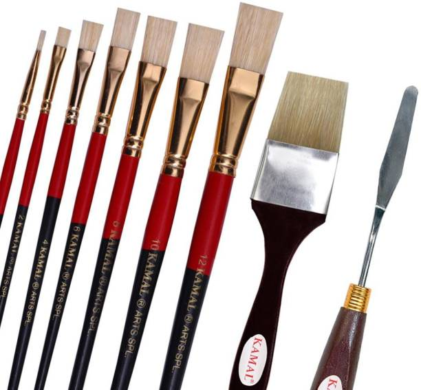 KAMAL Artist Quality Oil Painting Tool Kit with Flat and Wash Hog Hair Brushes and Painting Knife for Oil, Acrylic, Poster, Fabric, Encaustic Painting