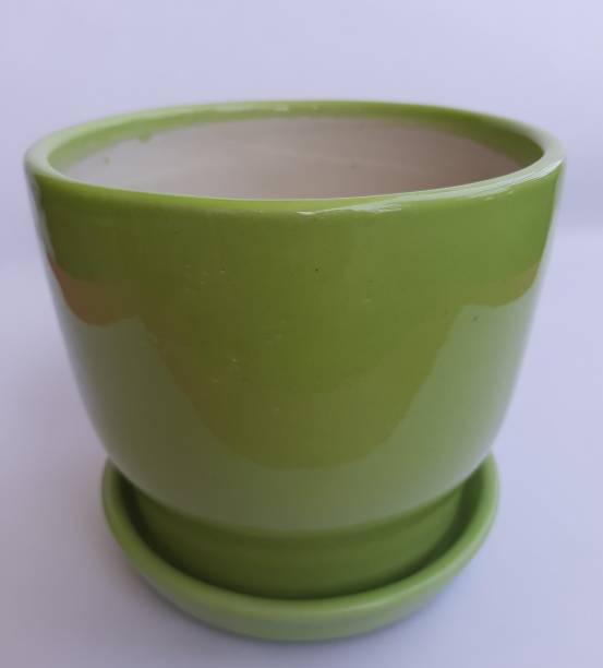 ASHIRA Green Ceramic Big Pot Planter With try Plant Container Set