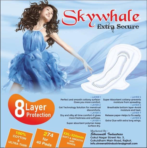 Skywhale XXL ULTRA Cottony & ULTRA THIN Sanitary Pad (Pack of 40,COMBO ) Sanitary Pad
