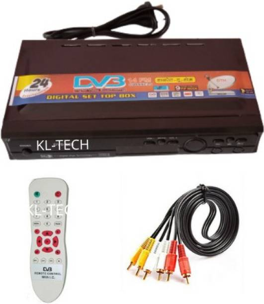 KL-TECH Dth direct to home DD Free Dish Set Top Box Receiver Free to Air for (DTH-MPEG2) with REMOT & AV Lead (BLACK) Media Streaming Device