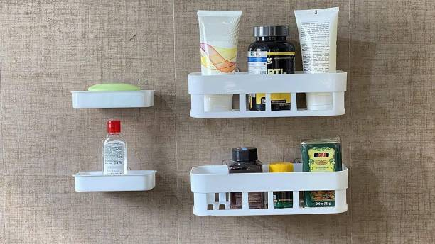 VRAVMO Multipurpose Kitchen Bathroom Rack Storage Shelves Bathroom Storage Rack Soap Box Stand Shower Rack ABS Plastic Storage Holder Combo with Magic Sticker Shelf (2 Bathroom Shelves + 2 soap Box)