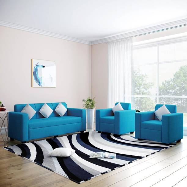 Flipkart Perfect Homes Burano Fabric 3 + 1 + 1 Turquoise Blue Sofa Set