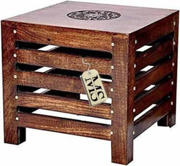 manzees Wooden Handicraft Wooden Square Antique Finish Stool for Living Room Side Table (12 Inch, Brown) Stool