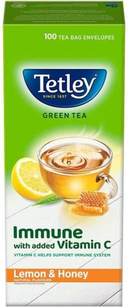 tetley Green Tea Immune with Added Vitamin C, Lemon and Honey, 100 Tea Bags NEW PACK Lemon Green Tea Bags Box
