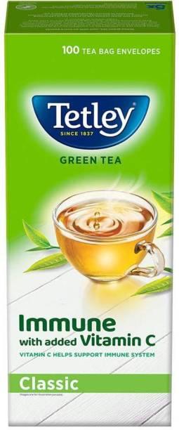tetley Green Tea immune with added Vitamin C, Classic, 100 Tea Bags NEW PACK Green Tea Bags Box