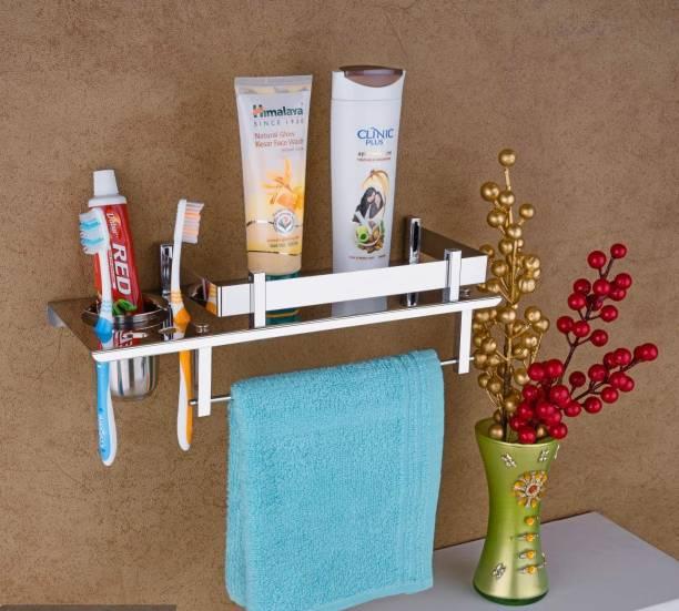 iSTAR Stainless Steel 3 in 1 Multipurpose Bathroom Shelf/Towel Rack/Towel Hanger/Tumbler Holder/Towel Rod/Bathroom Accessories Silver Towel Holder (Stainless Steel) (15 inch Long, 6 inch Wide, Steel Color) SILVER Towel Holder