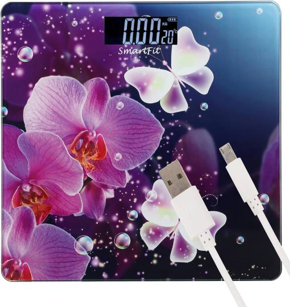 SMART FIT Rechargeable Digital Weighing Scale Electronic Weight Machine For Human Body with Temperature Display( USB Cable Included) Weighing Scale Weighing Scale