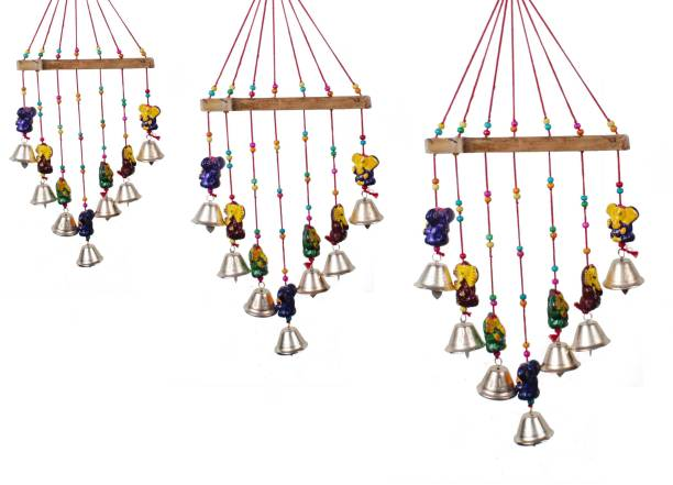 RVART rajasthani Ghanesh wind chime for Home Décor Aluminium, Wood, Polyresin Windchime