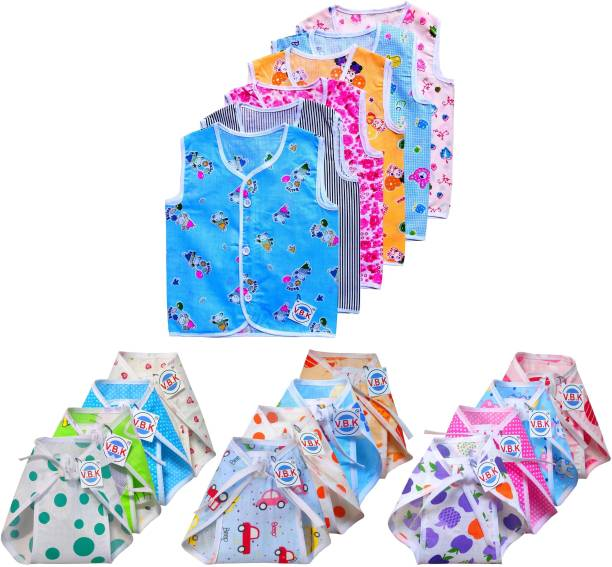 V.B.K Baby Boy and Baby Girl Clothing Set Combo / Gift Set Pack Of Jhabla (6 Pcs) and Nappy (12 Pcs), Pure Cotton Soft Fabric, 0 to 6 Months