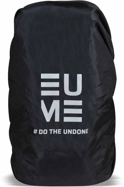 EUME 65 Ltr Polyester Rain and Dust Cover (Black & White) Waterproof, Dust Proof Trekking Bag Cover