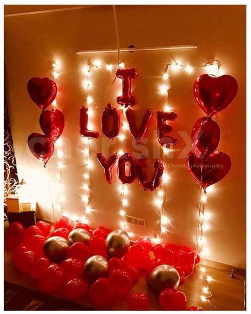 CherishX.com Printed Happy Anniversary Romantic Surprise Decoration kit with Heart Shaped foil Balloons, Led Lights, I Love You foil Balloon Letters and Balloon Pump - Romantic Decoration Combo Letter Balloon