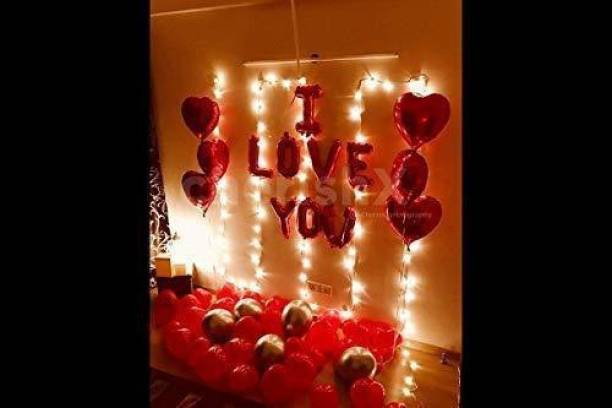 CherishX.com Printed I Love You and Heart Shape Foil Balloons Decoration Kit with LED Lights - 53 Items Combo - for Happy Wedding Anniversary Romantic Surprise Party Decoration at Home or Bedroom Letter Balloon