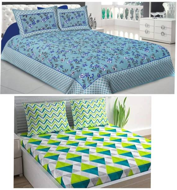 Home@shop 144 TC Cotton Double Jaipuri Prints Bedsheet