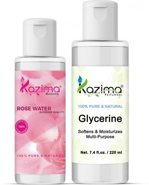 KAZIMA Combo of Glycerin (220ML)+Rosewater (100ML) Ideal for Face, Skin lightening, Dark circles, Oily skin, Glowing skin, Wrinkle