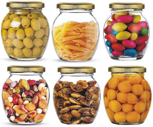 Carat24 matka jar indian ,TRANSPERENT,PACK OF 6  - 350 ml Glass Grocery Container
