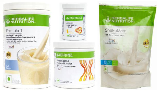 HERBALIFE WEIGHT LOSS SUPER COMBO : FORMULA 1 NUTRITIONAL SHAKE MIX+Protein+SHAKEMATE+AFRESH Energy Drink