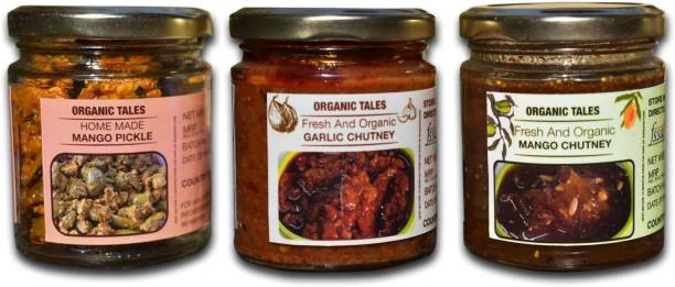 ORGANIC TALES MANGO PICKLE,MANGO CHUTNEY AND GARLIC CHUTNEY Combo