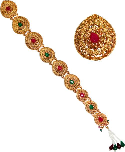 VAGHBHATT Bling Hair Jewelry Choti Jadai Billai Indian Hair pin Hair Decoration, Hair Brooch with Hook Wedding Bridal Jewellery for Women-10 Piece (J_9Pin_03) Hair Pin
