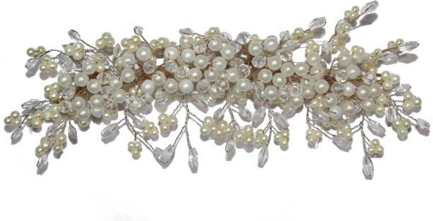 VAGHBHATT Fashion Hand Made Crystal, Pearl Headdress Wedding Party Bridal Fancy Hair Clip Headband Hair Vine and Headpiece Hair Accessories Wedding Tiara Hair Chain