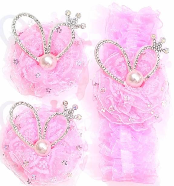 ANNA CREATIONS multi-coloured baby girl kids hairband headbands elastic hair accessory 3 PCS- PINK 3 Head Band