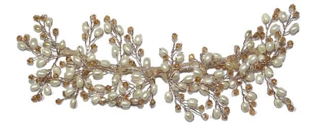 VAGHBHATT Hand Made Crystal, Pearl Headdress Wedding Party Bridal Fancy Hair Clip Headband Hair Vine and Headpiece Hair Accessories Wedding Tiara Hair Chain