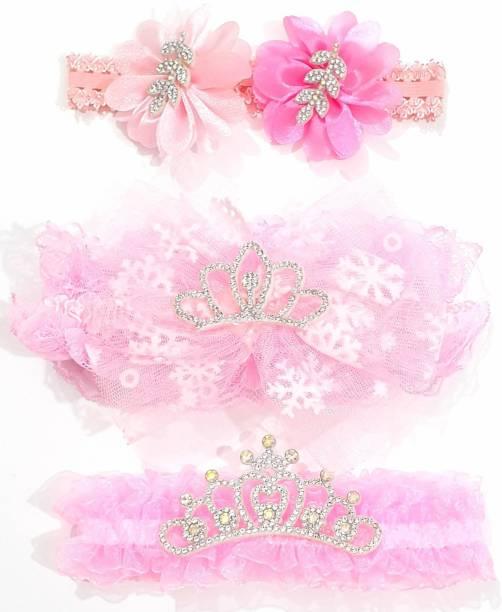 ANNA CREATIONS multi-coloured baby girl kids hairband headbands elastic hair accessory 3 PCS- PINK 1 Head Band