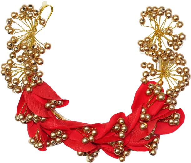 VAGHBHATT Red Flower with Gold Pearl Party Bridal Fancy Hand Made Crystal, Pearl Headdress Wedding Party Bridal Fancy Hair Clip Headband Hair Vine and Headpiece Hair Accessories Wedding Tiara Hair Chain