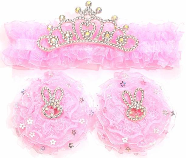 AmazingKarts multi-colored baby girl kids hairband headbands knot elastic hair band hair accessories 3 PCS - PINK-1 Head Band