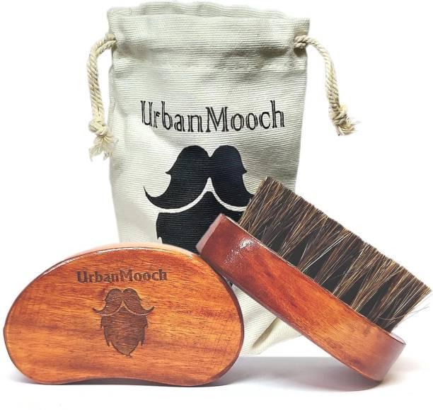 UrbanMooch 100% Boar Bristle Beard Brush & Mustache Brush For Men for a Healthy Beard & Styling