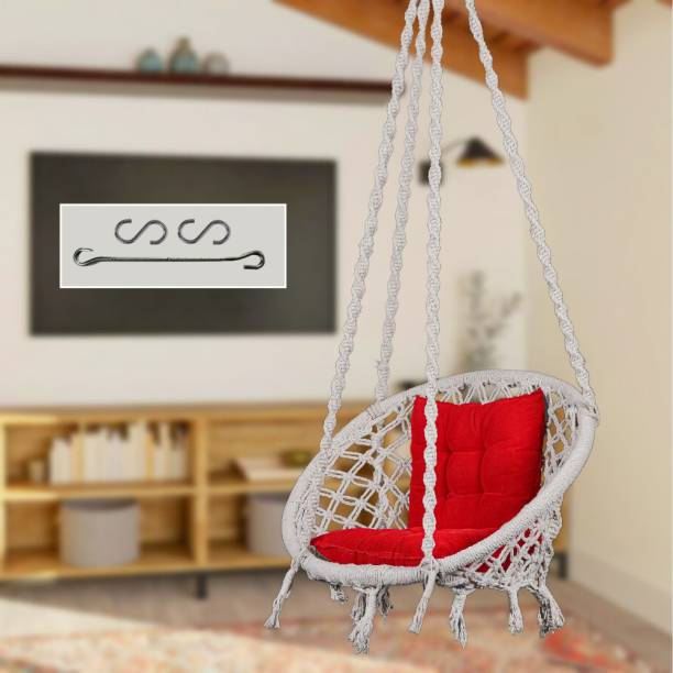 Swingzy 100%Cotton Rope Swing with L-Cushion Cotton Large Swing
