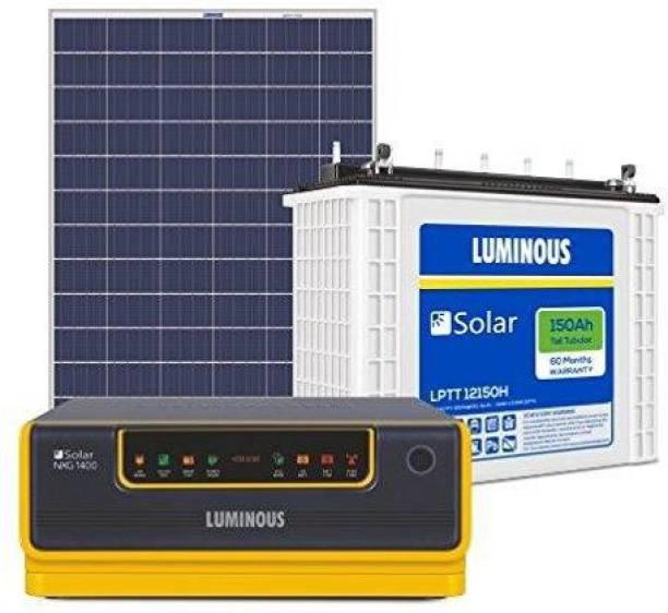 LUMINOUS NXG1400 + LPTT12150H 150Ah 1No + 165Watts Solar Panel 2Nos (Poly) Tubular Inverter Battery