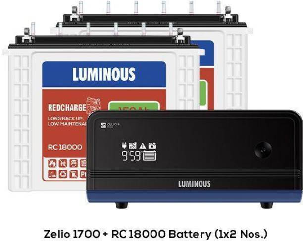 LUMINOUS Zelio 1700 Sine Wave Inverter With 2Nos. Battery Red Charge Rc18000 150 Ah Tall Tubular Battery Tubular Inverter Battery