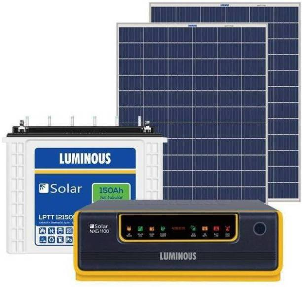 LUMINOUS NXG1100 + LPTT12150H 150Ah 1No + 160Watts Solar Panel 2No (Poly) Luminous NXG1100 + LPTT12150H 150Ah 1No + 165Watts Solar Panel 2No (Poly) Pure Sine Wave Inverter