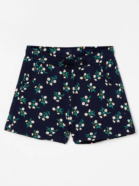 FAME FOREVER Short For Girls Casual Floral Print Pure Cotton