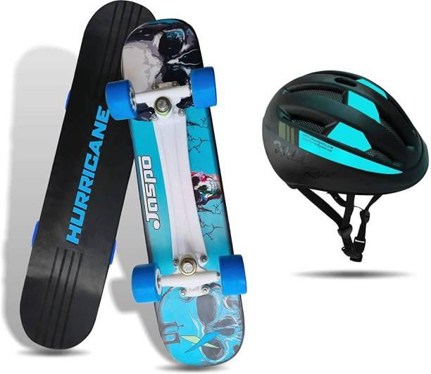 "Jaspo Hurricane Dual Combo 27""x 6.5"" Wooden Skateboard with Helmet Skating Kit"